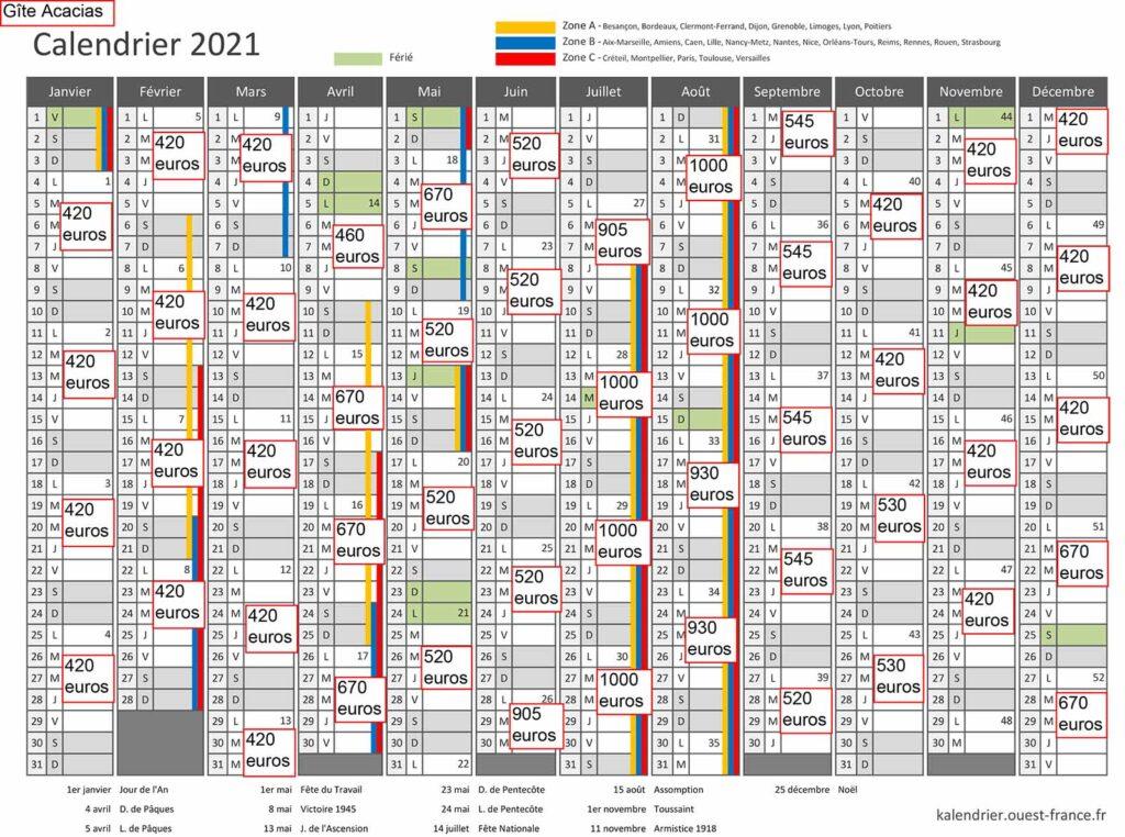 Gite Acacias calendrier 2021 avec tarif 1 - Gites Mesquer Quimiac
