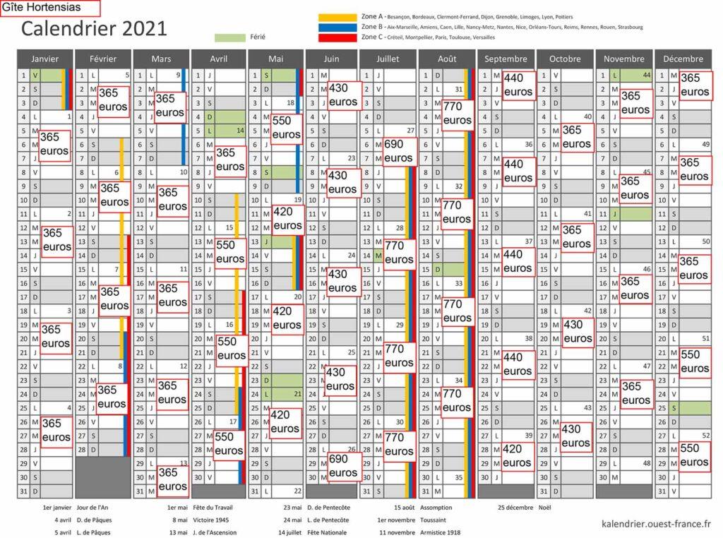 Gite Hortensias calendrier 2021 avec tarif 1 - Gites Mesquer Quimiac